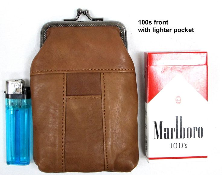 100'S 2pc Two Color Set Genuine Soft Leather Cigarette Case with Lighter Pocket Fit 100mm, 84's HOT PINK + LT. BROWN 2pc for $10.99. 2pc Cigarette Pouch for 100's or 84's. Get two piece 1/Hot-Pink 1/ Lt Brown for only $10.99. Metal frame with easy to open Clasp Top Closure. Made of genuine soft leather with lighter pocket. Super light weighted and easy for caring.
