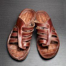Nuevo 2016 hombres sandalias de cuero genuinos planos ocasionales sandalias de playa zapatillas de verano zapatos casuales tamaño 38-43(China (Mainland))