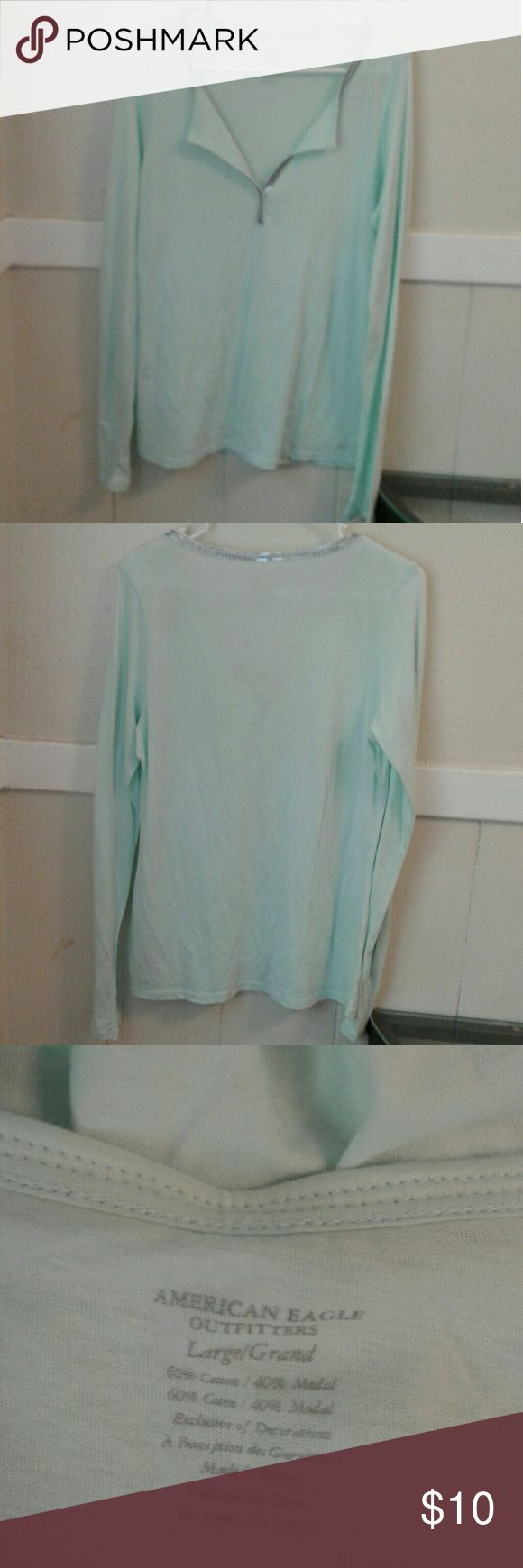 American Eagle shirt American Eagle shirt new light seafoam green American Eagle Outfitters Tops Blouses