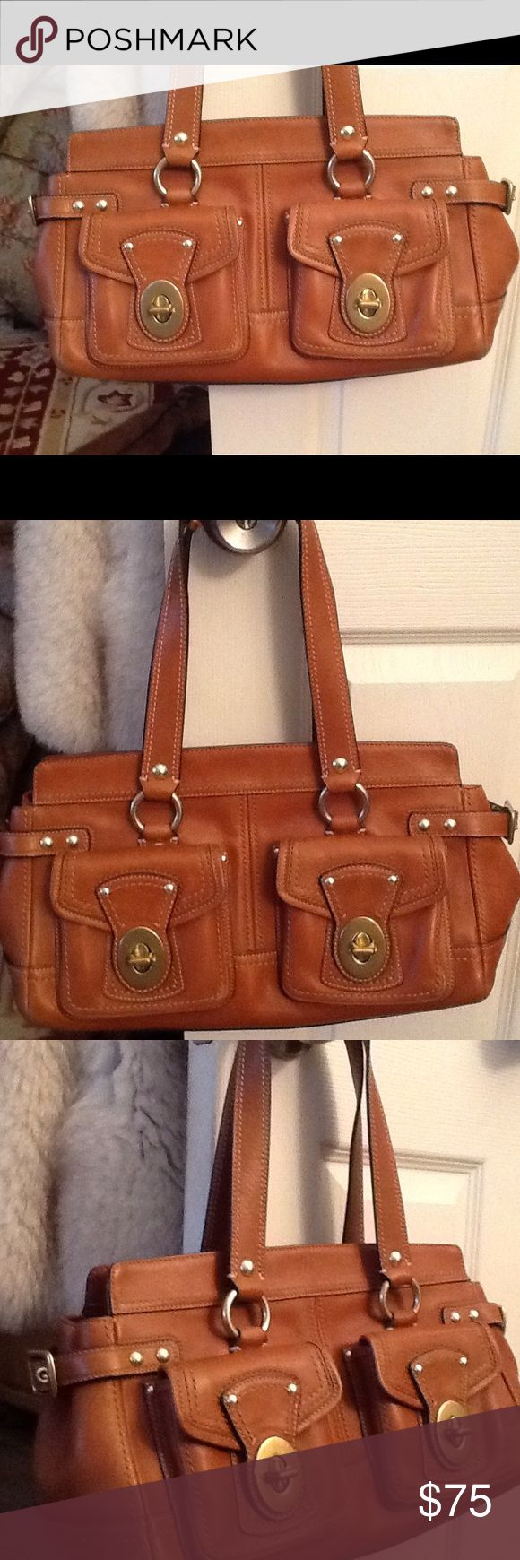 "COACH LEGACY BROWN LEATHER SATCHEL PURSE, NEW! NWOT Coach legacy brown leather satchel purse.  Gorgeous double front pockets.  Gold metal accents.  Generous size: 14.5"" X 8"". Roomy and gorgeous!  Will ship right away.  Check out my other designer items Coach Bags Satchels"