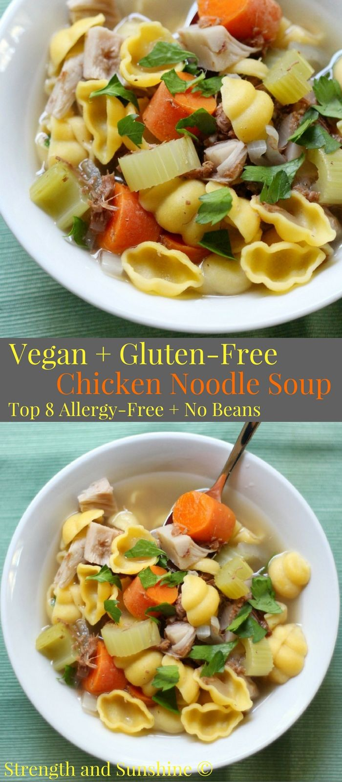 Vegan + Gluten-Free Chicken Noodle Soup (Allergy-Free, No Beans) | Strength and Sunshine @RebeccaGF666 Everyone loves a piping hot comforting bowl of classic chicken noodle soup! But this healthy & veggie-packed recipe is for Vegan & Gluten-Free Chicken Noodle Soup; top 8 allergy-free, no beans, and a mock ingredient you'd never guess! This cozy soup will nourish and soothe the soul! #soup #chickennoodlesoup #chickensoup #glutenfree #vegan #allergyfree #jackfruit