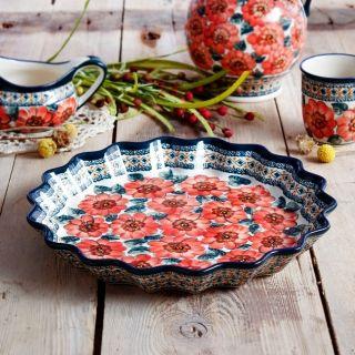 Forma do pieczenia tarty ceramiczna GU-1332 DEK. 124 ART. BOLESŁAWIEC 32 cm