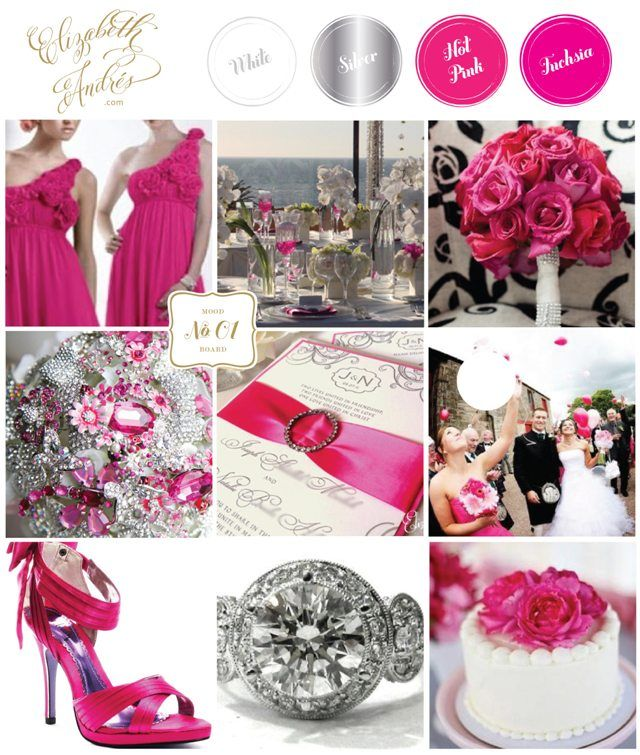 Wedding Inspiration Mood Board #01  {Fuchsia, Hot Pink, Silver, White} by Elizabeth Andres Designs in Dubai.