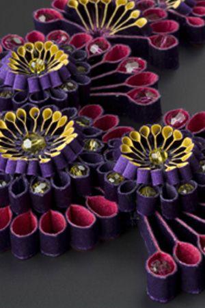 Katherine Wardropper Blossom Neckpiece KW16 (14x18cm) Silk satin and Swarovski elements