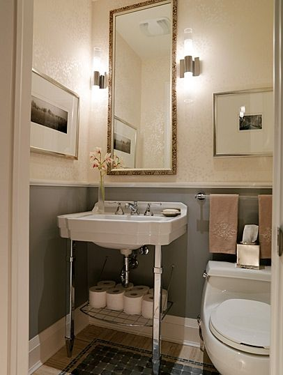 Color Pallet. This one uses wall paper. Light Sconces. Sarah Richardson Design powder room