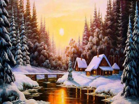 Beautiful winter ! - christmas, shine, beautiful day, tree, day, sun, forest, winter, love, color, bridge, splendor, houses, lovely, beautiful, snow, spirits, river, cottage, season, view