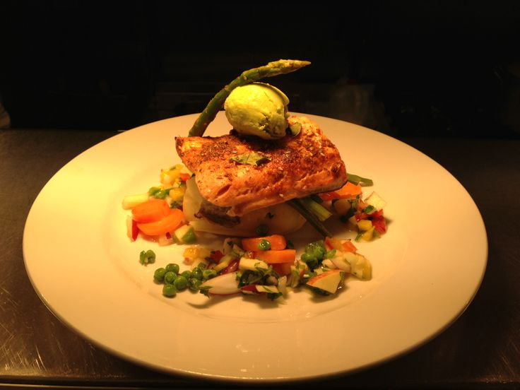 Baked Salmon topped with Avocado Sorbet and Seasonal Vegetables