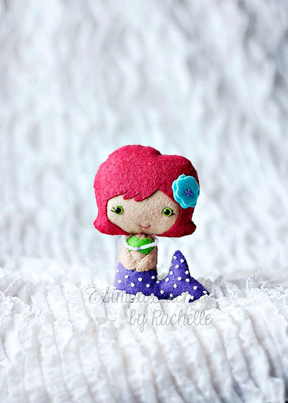 This doll is a custom order and will be made for you after you complete your order. The Little Mermaid, is a sweet little felt doll and is