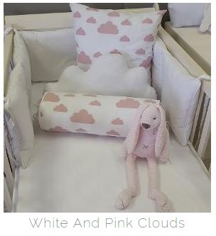 Our #PinkandWhite #Clouds fabric is perfect for any #BabyGirl's nursery!  #BabyBedding #BabyLinen