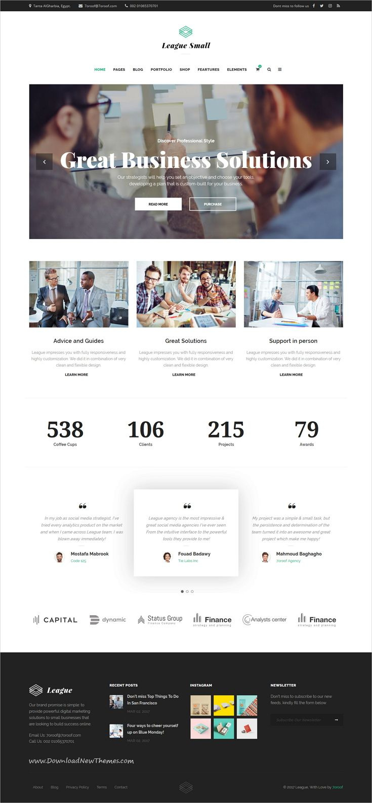 Business League is clean and modern design responsive multipurpose #WordPress theme for small #business  website with 35+ awesome niche homepage layouts to live preview & download click on Visit