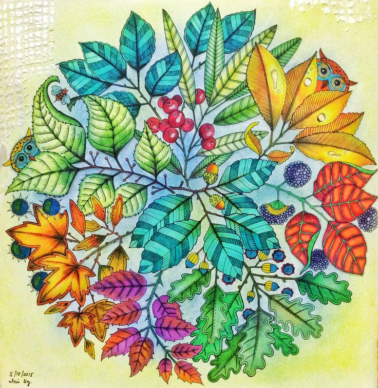 from Secret Garden Coloring Book... used Soft Pastels and Copic Markers plus texture paste on the edges by Shimmerz Paints...