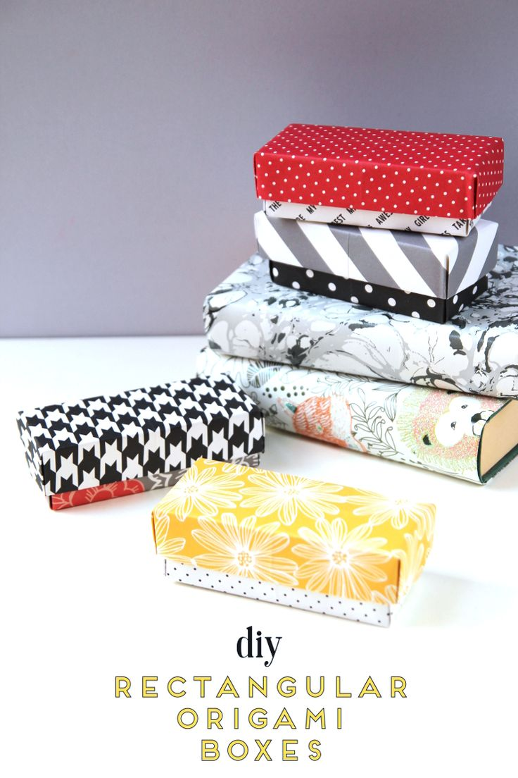 DIY RECTANGULAR ORIGAMI GIFT BOXES.