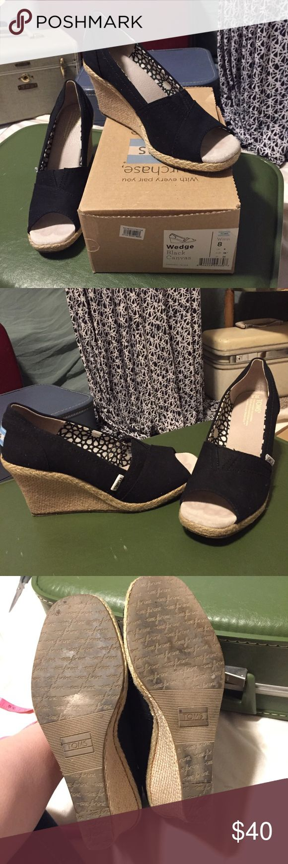 Toms Black Wedges Size 8 Worn 3x still in Awesome Used Condition. With box, Duster, and sticker! Toms Shoes Wedges
