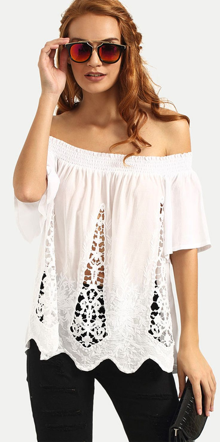 23 Best Blanco Images On Pinterest Woman Fashion Blouse And Crop Tops Tm Stripe T Shirt Red Merah S Lace Hollow Pattern Off The Shoulder Tent Shape Perfect With All
