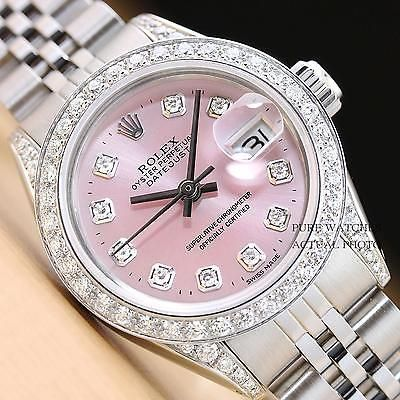 ROLEX LADIES PINK DIAMOND DATEJUST 18K WHITE GOLD/SS DIAMOND BEZEL &LUGS WATCH