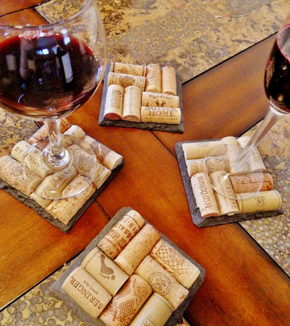 Slate Wine Cork Coasters by @ScatteredTreasures Etsy