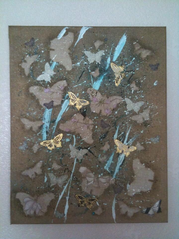 Mixed media butterfly's on canvas