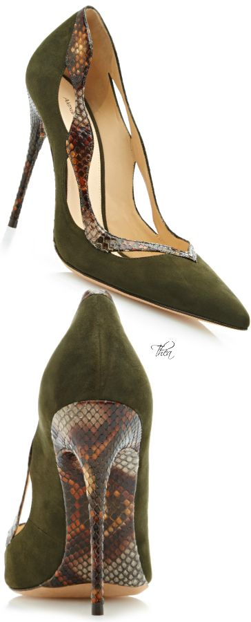 Alexandre Birman ~ Green Suede Pumps w Leather Heels+Trim 2015