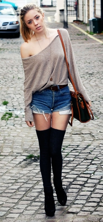 slouchy knit, denim shorts, knee high stockings