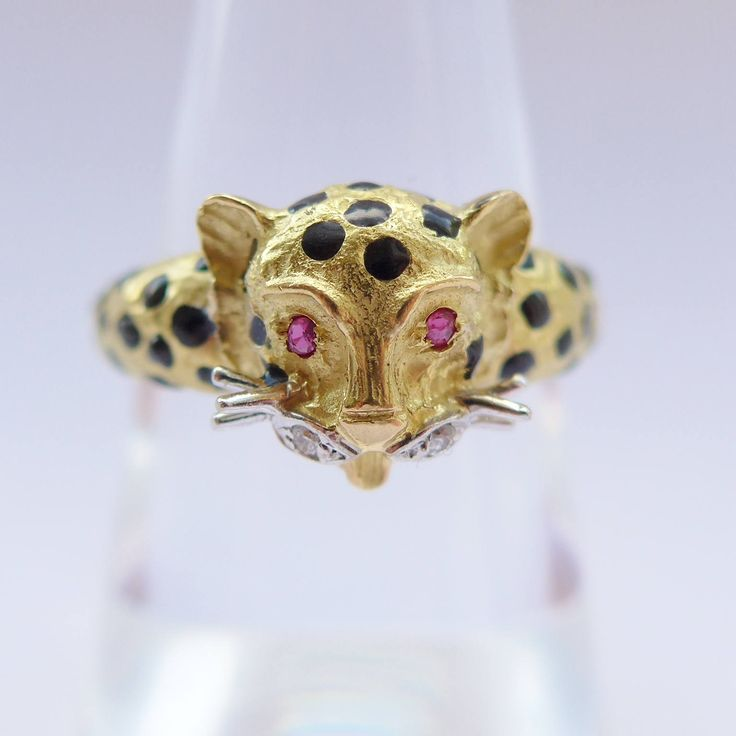 Unusual Vintage Handmade Leopard / Cat Ring 18ct Yellow Gold with real Ruby Eyes and Diamond Accents and Enamel Ring Size Is UK N USA 7 by rubyandjules on Etsy