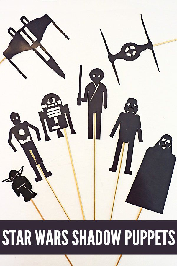Staw Wars Shadow Puppets Activity for Kids. Develop storytelling and oral literacy skills through puppet play. All you need is these fab printable puppets and a torch.