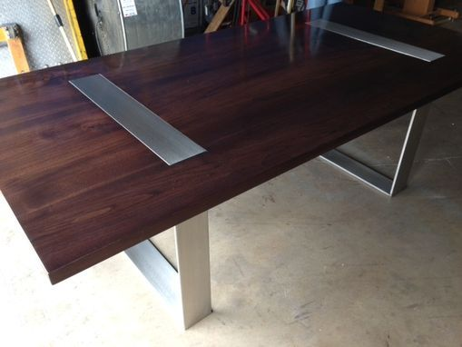 walnut table with stainless legs for glenn in virginia the legs are solid stainless steel welded and sanded to a brushed finish