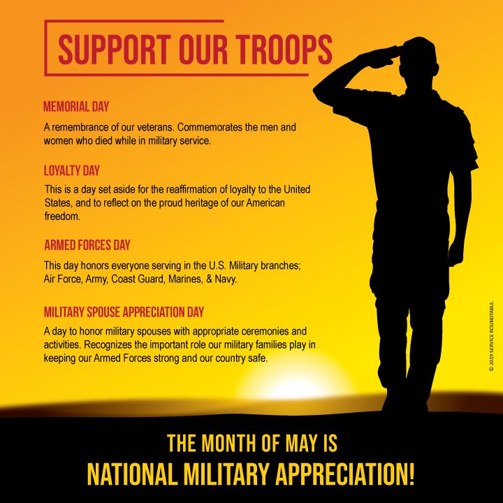 Important Dates In The Month Of May Loyalty Day Support Our Troops American Freedom