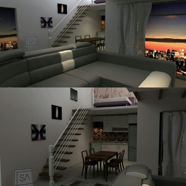 Tuhaf bir daire #3dsmaxdesign #mutfakdolabi #cizim #akrilikkapak #mobilyaci #gorselcizim #hingglosskapak #tasarim #merdiven #yatakodasi