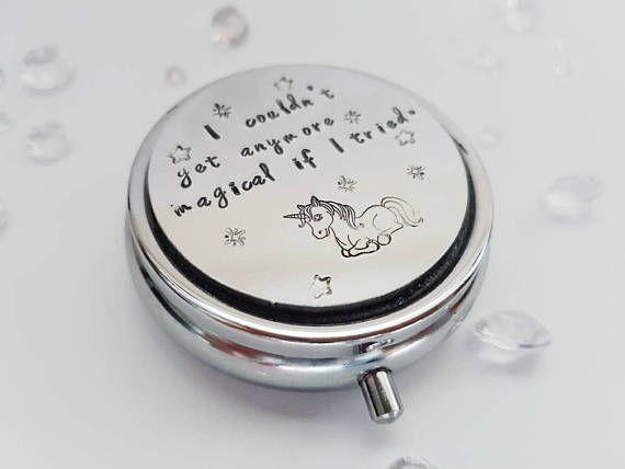 Handstamped unicorn trinket box personalised pill box