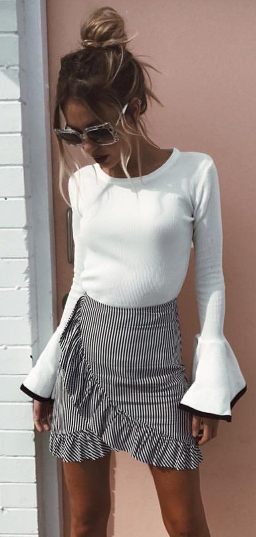 #summer #outfits  White Bell Sleeve Top   Striped Ruffle Wrap Skirt
