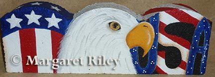 Painted Paver Patriotic Eagle & Flag Landscape Border DOWNLOAD