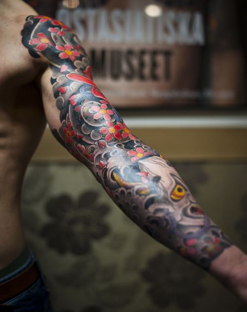 Ink tattoo man men arm flower