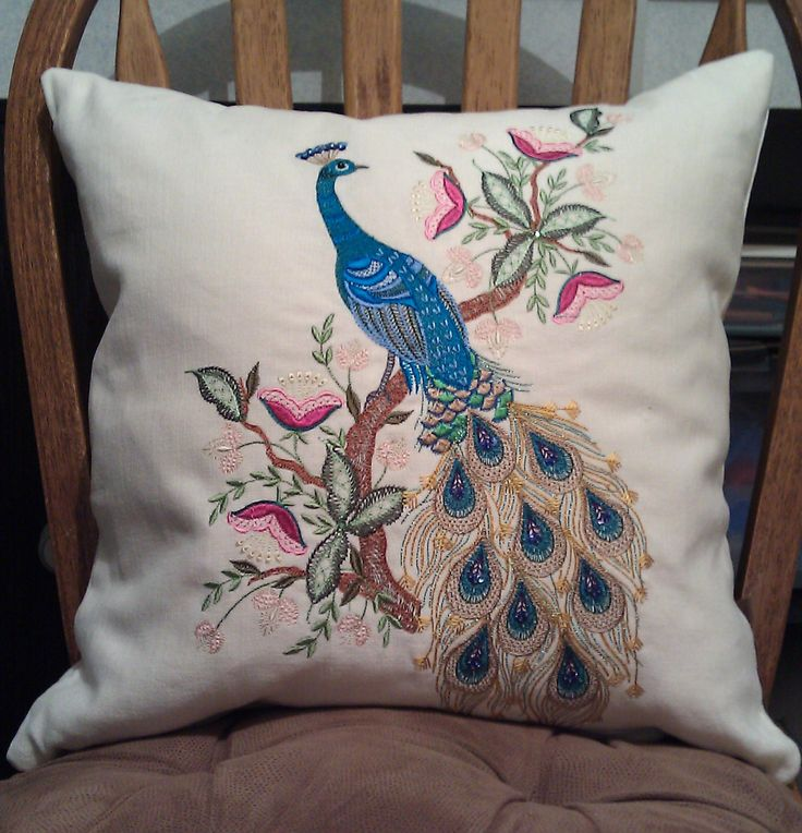 Peacock Cushion Embellished With Sequins And Hot Fix