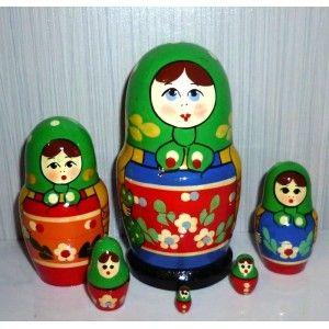 Zagorsk green scarf blue dress 6-set #Babushka #russiandoll #matryoshka #dollsindolls #decor #traditional