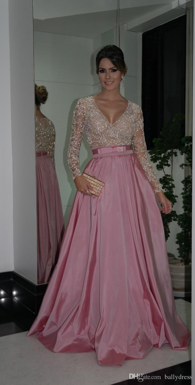 Stunning Vestidos De Bridesmaids Dresses para madrinhas Beads Nude Pink Satin A-Line Long Sleeves Charming Floor length New Arrival