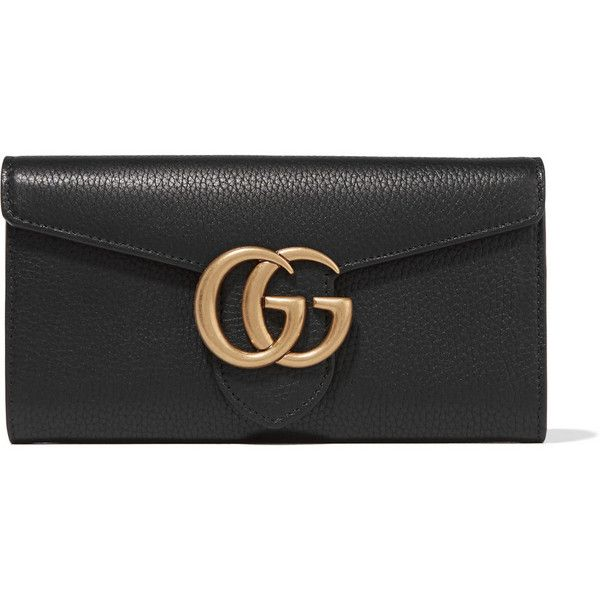 Gucci GG Marmont textured-leather wallet ($620) ❤ liked on Polyvore featuring bags, wallets, gucci, wallet, black, gucci tote, coin wallet, coin bag, handbag tote and snap closure wallet