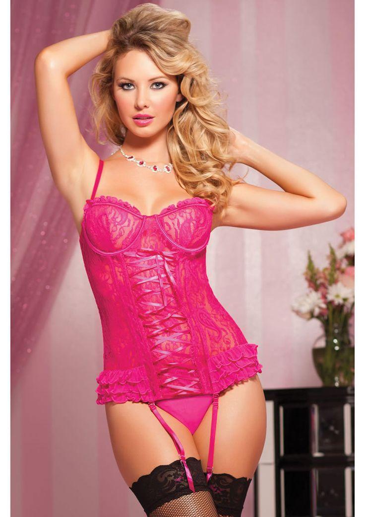 Paisley Pleasure 2pc Bustier-pink-l - Adult Shop America