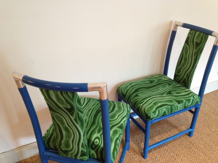 Lacquer Royal Blue Vintage Rattan Campaign Chairs With Malicate Green  Fabric Revamped By Parker Kennedy Living