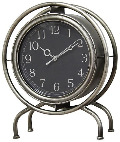 Gamma Table top Clock - Animate your mantel, desk, or counter with our Gamma Table Top clock. Its sophisticated face and sleek brushed metal finish will liven up any space. It's a fun modern twist to a timeless piece.