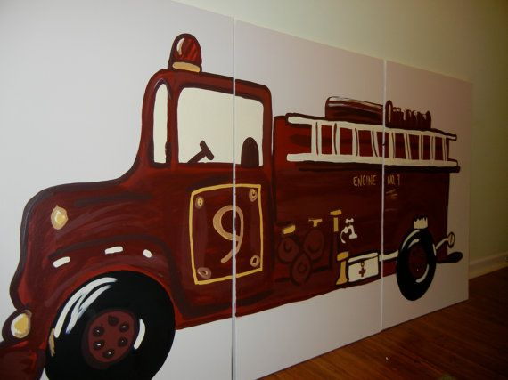 Triptych Fire Truck Painting On Three 24x36 By