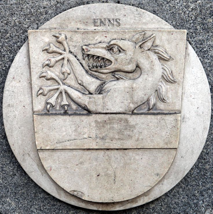Enns Coat of Arms Stone Plaque in Linz (Austria) -- photo by Lawrence Chard