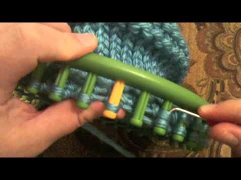Loom Knitting How To Decrease Stitches : Adult Hat Loom Decrease Crown 36 Peg Round Loom with CC Knitting on a Loom ...