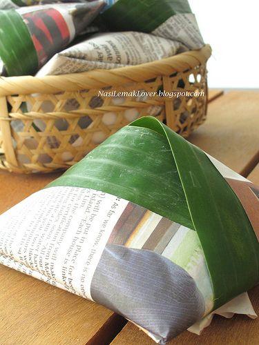How to fold banana leaf pyramids...nasi lemak!