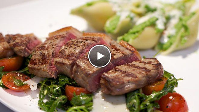Bistecca ai ferri con conchiglioni al pesto di broccoli (schelpenpasta met broccolipesto en runder entrecote) - recept   24Kitchen