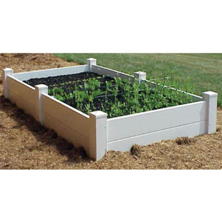 Rectangle Vinyl Cambridge Raised Planter Bed - Highlight and frame bedded flowers in your garden with the Cambridge Raised Planter Bed. The posts extend six inches into the ground for stability. Constructed...