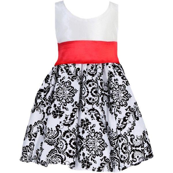 Black Velvet Flocked Damask on White Taffeta Dress with Red Sash (Baby... ($72) ❤ liked on Polyvore featuring dresses, white cocktail dresses, white dress, tea length formal dresses, long white cocktail dress and white floral dress