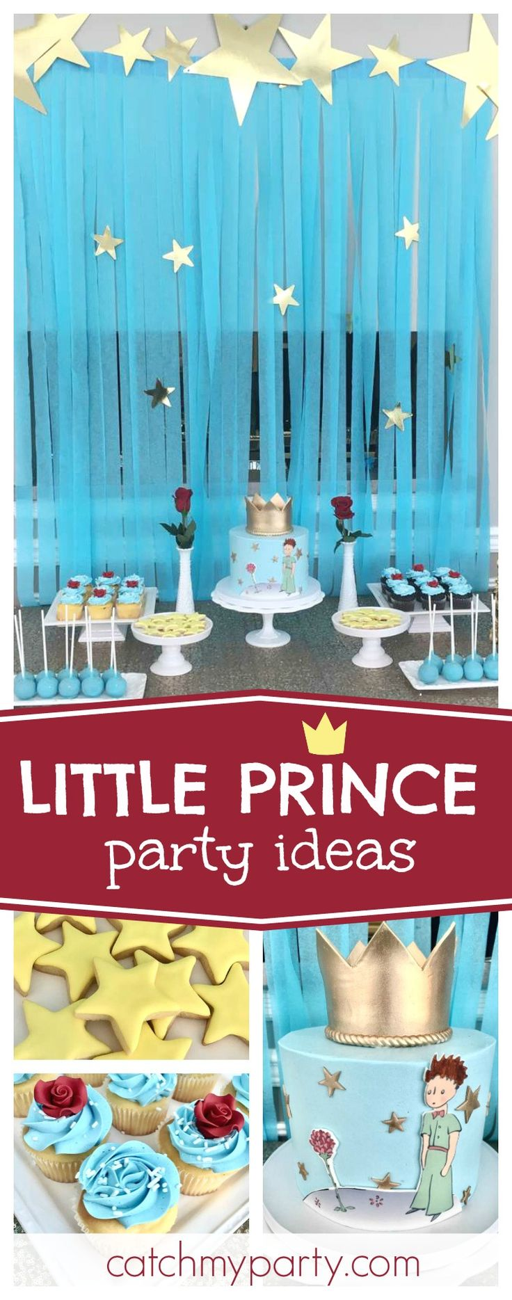 Check out this fantastic Little Prince Birthday Party! The birthday cake is so beautiful! See more party ideas and share yours at CatchMyParty.com