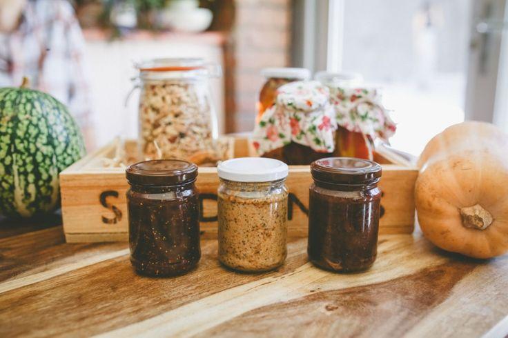 Homemade vegan nutella, cashew and chia butter, and fig jam, via healthy vegetarian blog, Three Seedlings  Homemade calendula tea in the Whole Foods Gift Guide, via healthy vegetarian blog, Three Seedlings  http://threeseedlings.com/whole-foods-gift-guide/