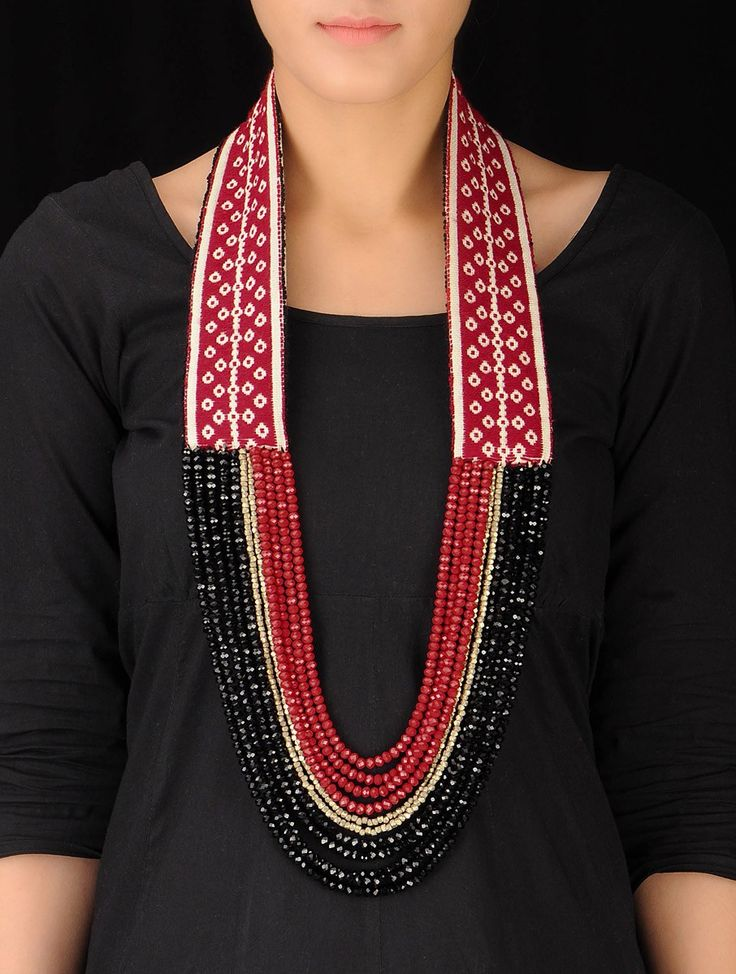 Buy Red Black Golden Hand Embroidered Toda Necklace Cotton Metal Dokra Beads Crystal Jewelry Fashion Nilgiri Threads Embroidery from Tamil Nadu Online at Jaypore.com