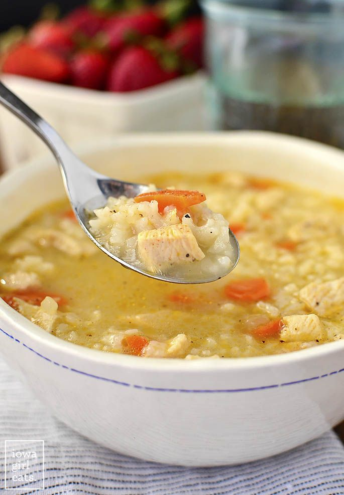 Easy Chicken and Rice Soup is a quick and easy gluten-free soup recipe that the entire family will love. Healthy comfort food in a bowl!   iowagirleats.com